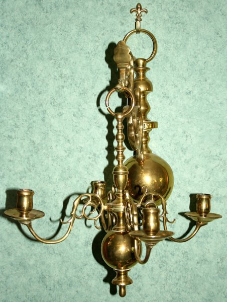 011016: ENGLISH BRASS SCONCES, ANTIQUE, PAIR