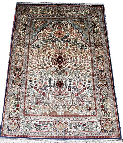 "011018: SILK & GOLD THREAD PRAYER RUG, 53.3""x36.3"""