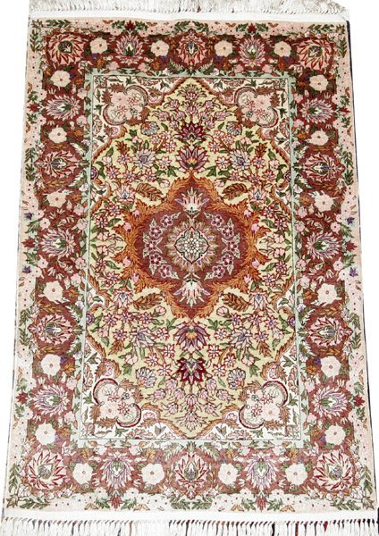 011019: HEREKE STYLE SILK & GOLD THREAD RUG, 3'x2'