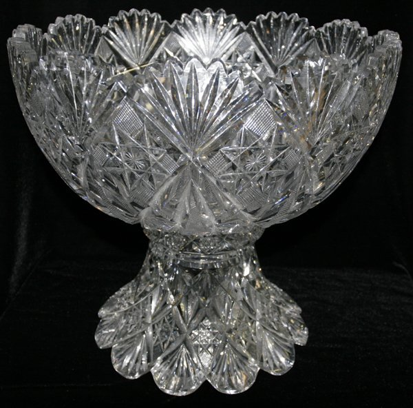 011023: BRILLIANT PERIOD CUT GLASS PUNCH BOWL ON STAND