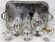 011024: TOWLE STERLING SILVER TEA & COFFEE SET + TRAY
