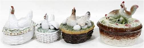 011280 STAFFORDSHIRE  ENGLISH POTTERY HEN DISHES