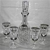 011357 WATERFORD CRYSTAL DECANTER  SET OF FOUR WINES