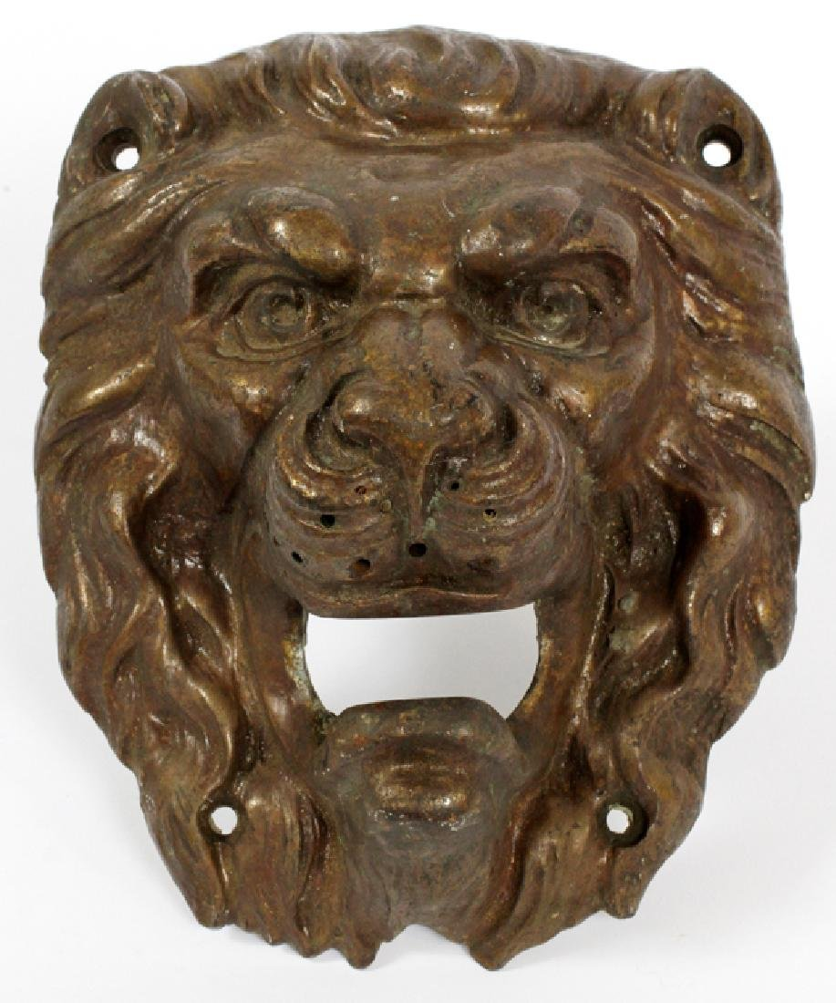 WALL MOUNTED BRONZE LION HEAD WATER SPOUT C. 1900