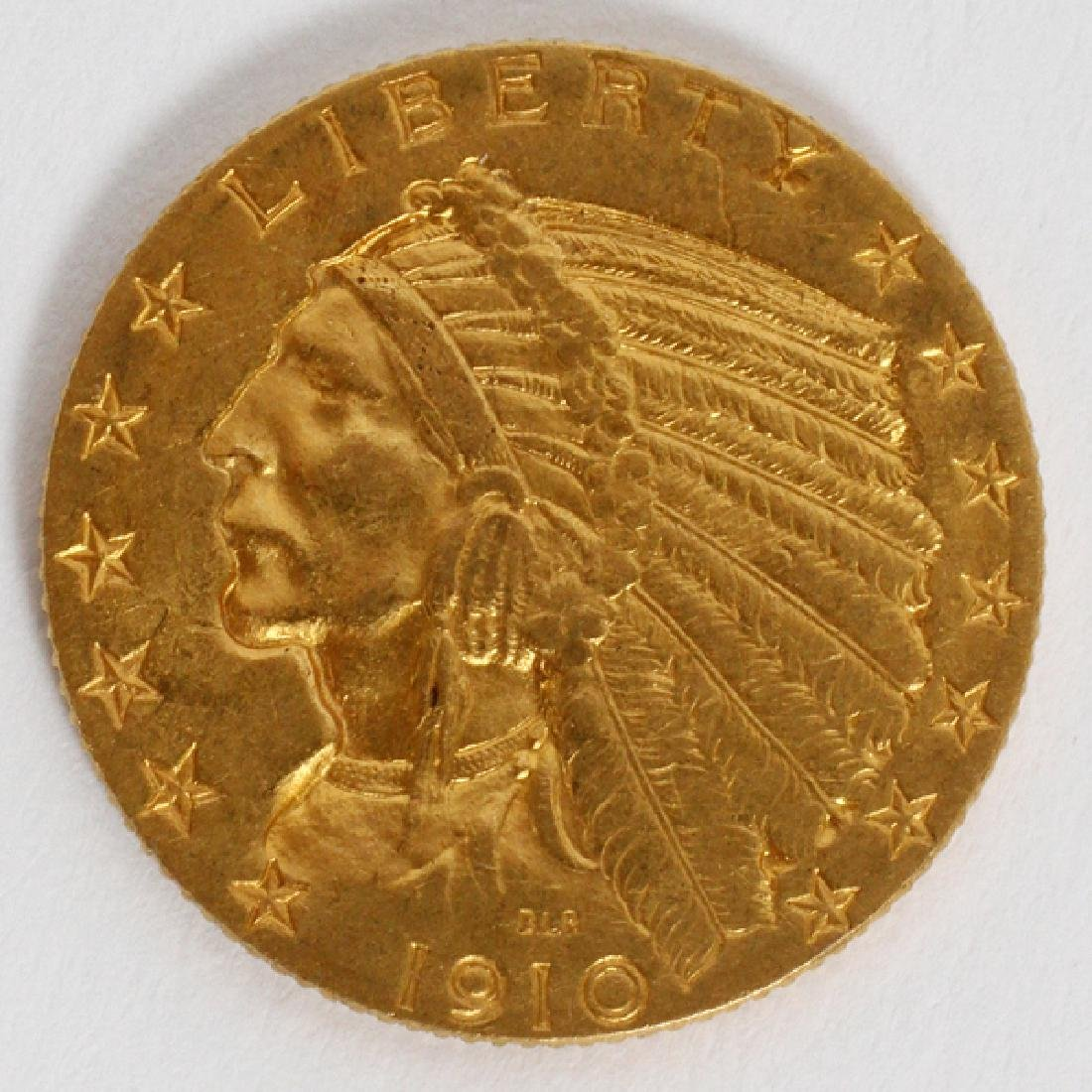 U.S. $5 INDIAN CHIEF 'WALKING-EAGLE' GOLD COIN 1910