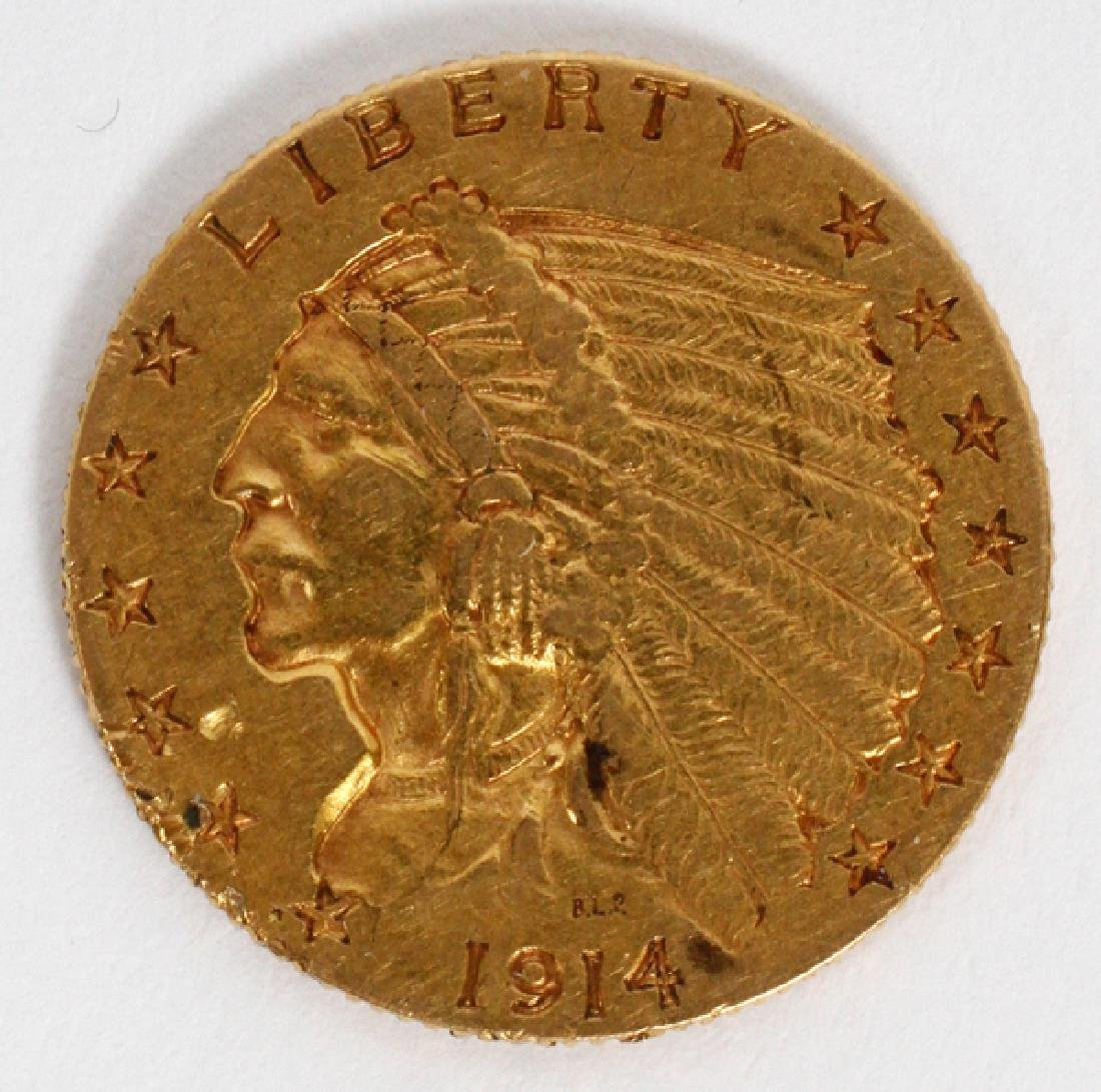 U.S. 1914-D INDIAN CHIEF 'WALKING EAGLE' GOLD COIN