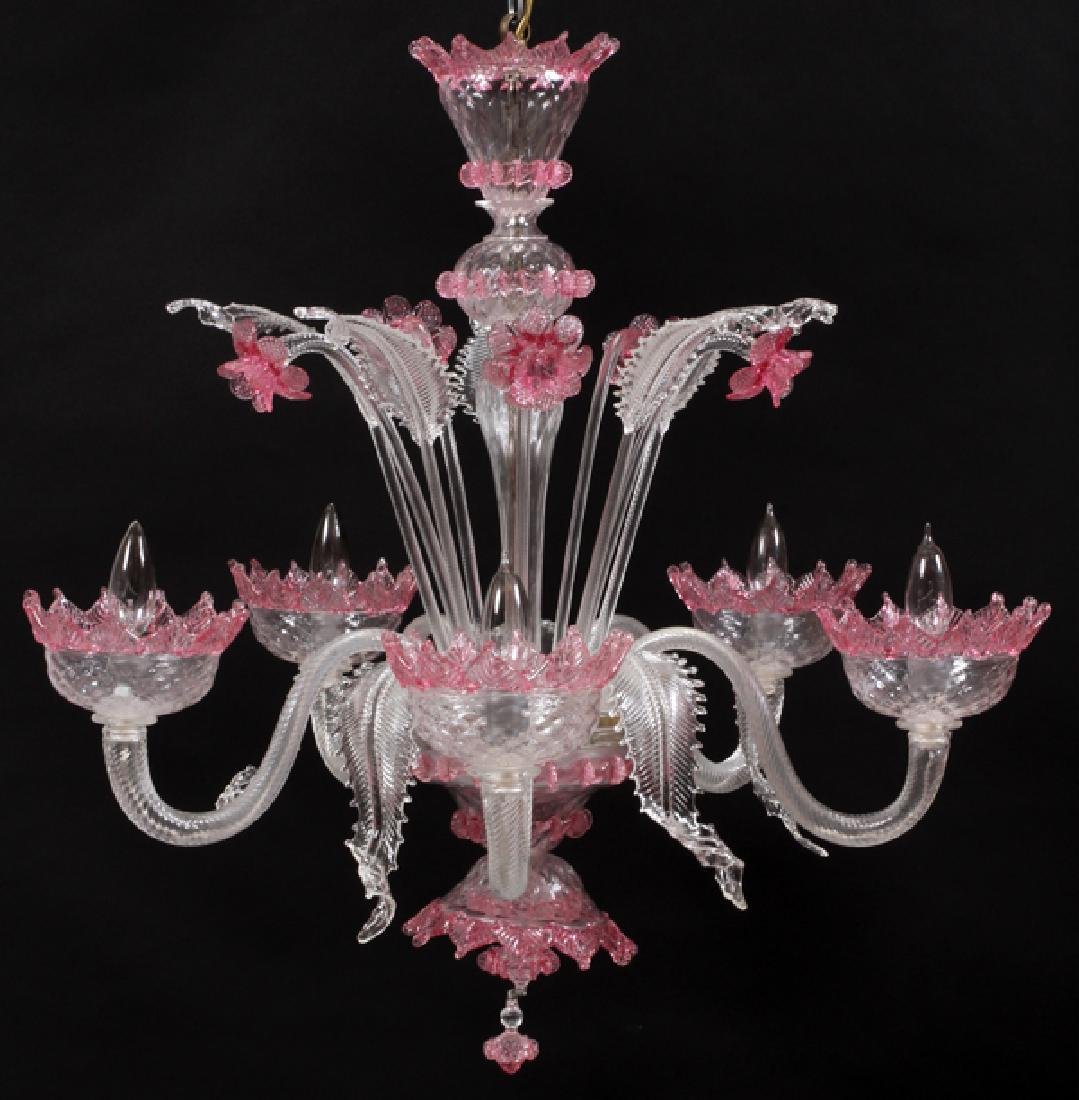 VENETIAN FIVE-LIGHT GLASS CHANDELIER
