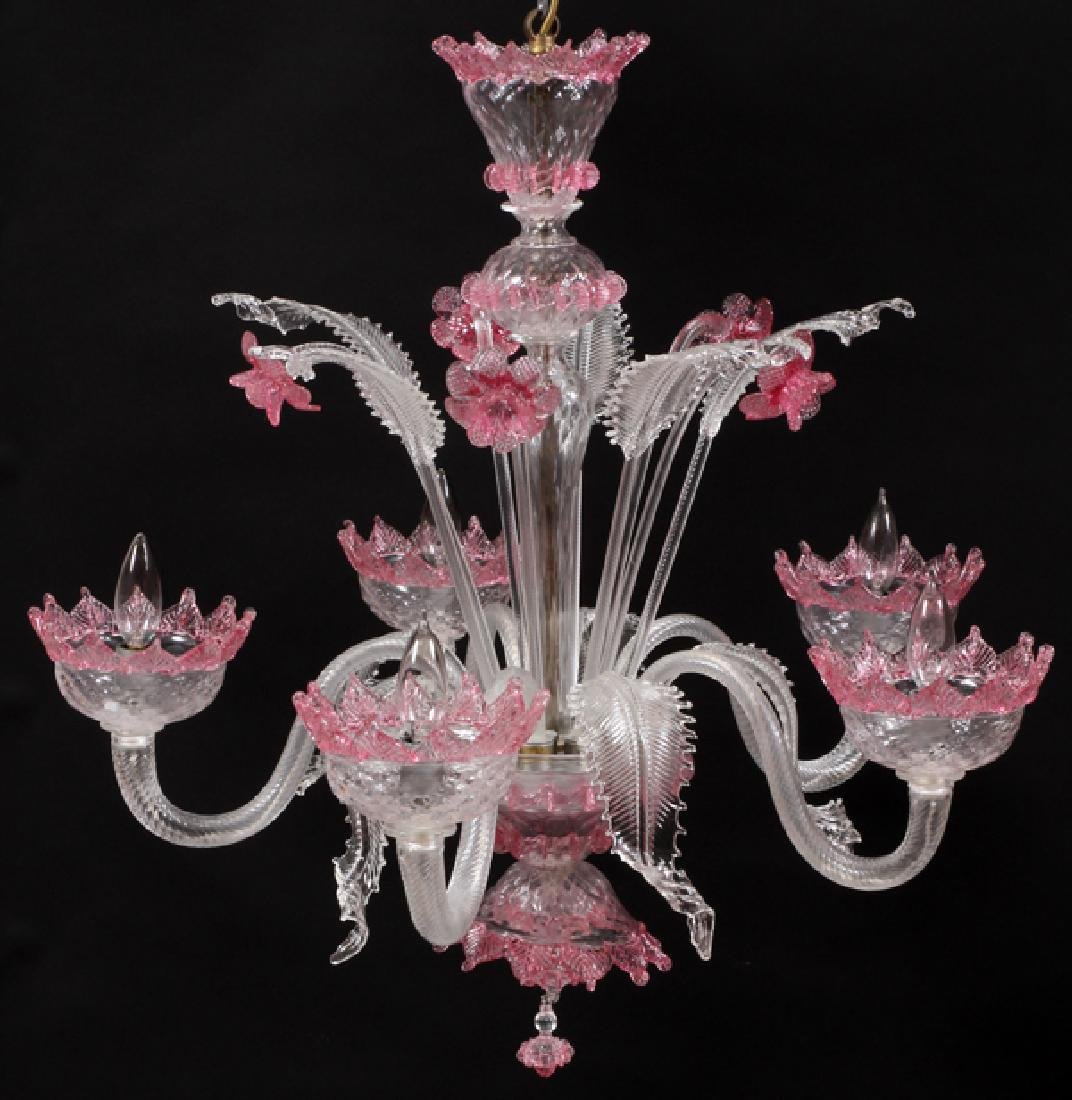 VENETIAN FIVE-LIGHT GLASS CHANDELIER - 2