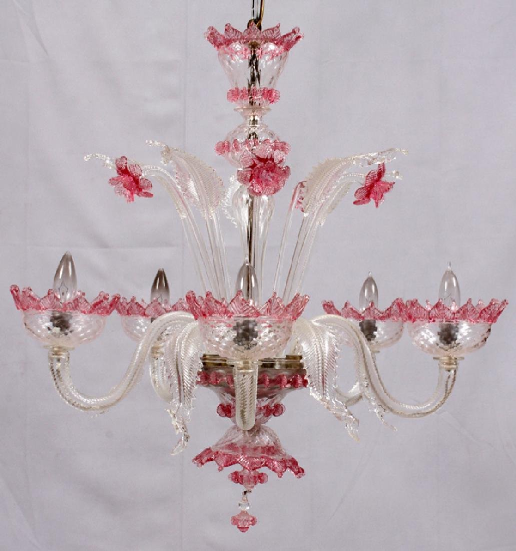 VENETIAN FIVE-LIGHT GLASS CHANDELIER - 5
