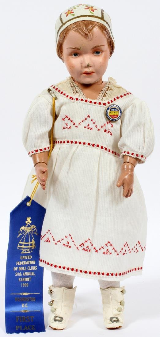 SCHOENHUT CARVED WOOD PAINTED BONNET DOLL C.1912