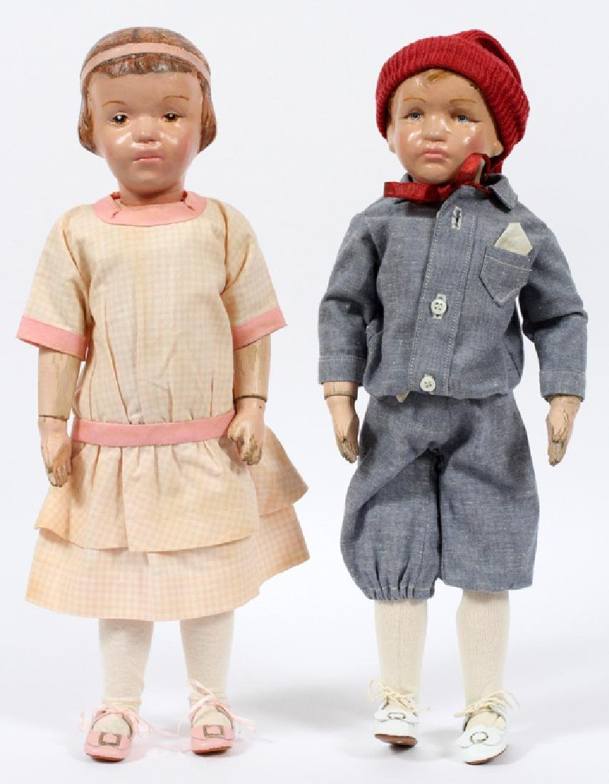 SCHOENHUT CARVED WOOD DOLLS C.1911-1930 TWO