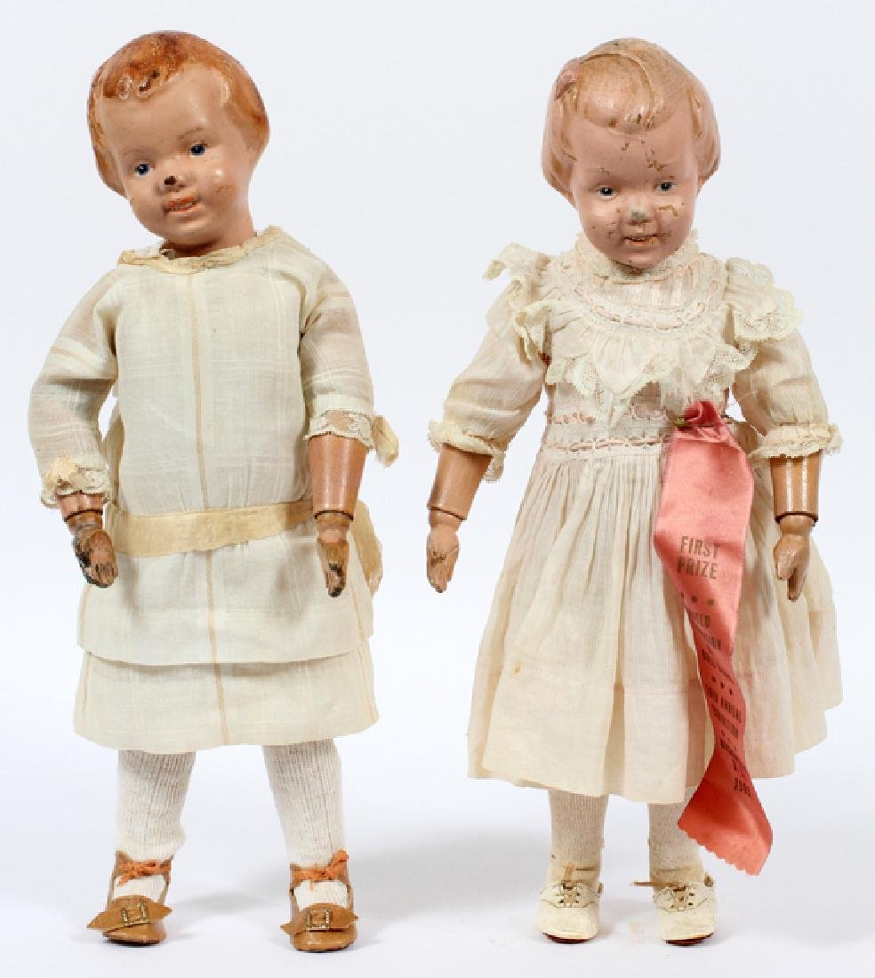 SCHOENHUT CARVED WOOD GIRL DOLLS C.1911-1923 TWO