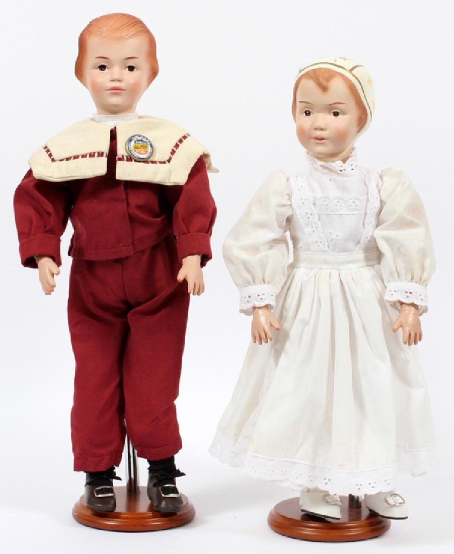 SCHOENHUT RE-ISSUE COMPOSITION DOLLS C.1998 TWO