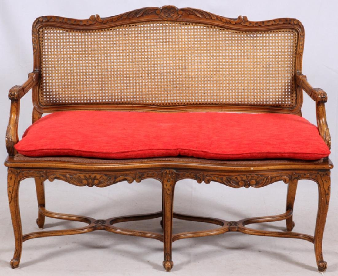 LOUIS XV STYLE CARVED WALNUT SETTEE