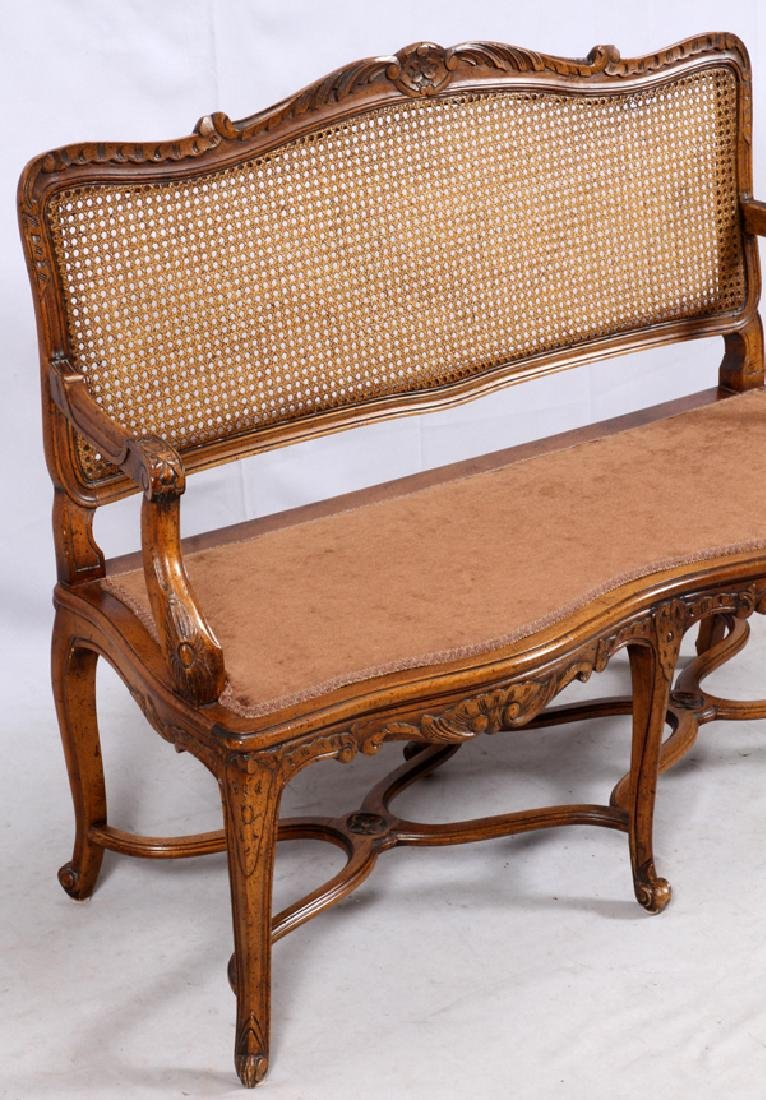 LOUIS XV STYLE CARVED WALNUT SETTEE - 3