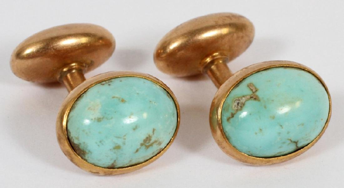 NATURAL PERSIAN TURQUOISE & ROSE GOLD CUFFLINKS