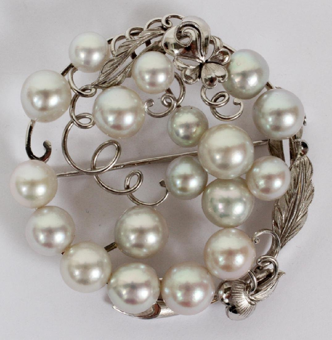 MIKIMOTO 14KT WHITE GOLD AND PEARL BROOCH