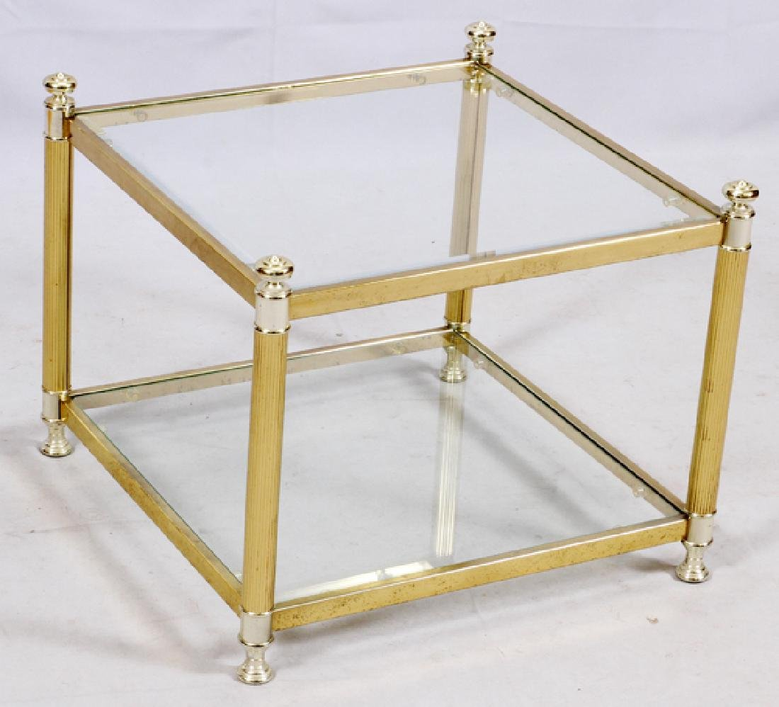 GLASS AND BRASS FRAME TABLE