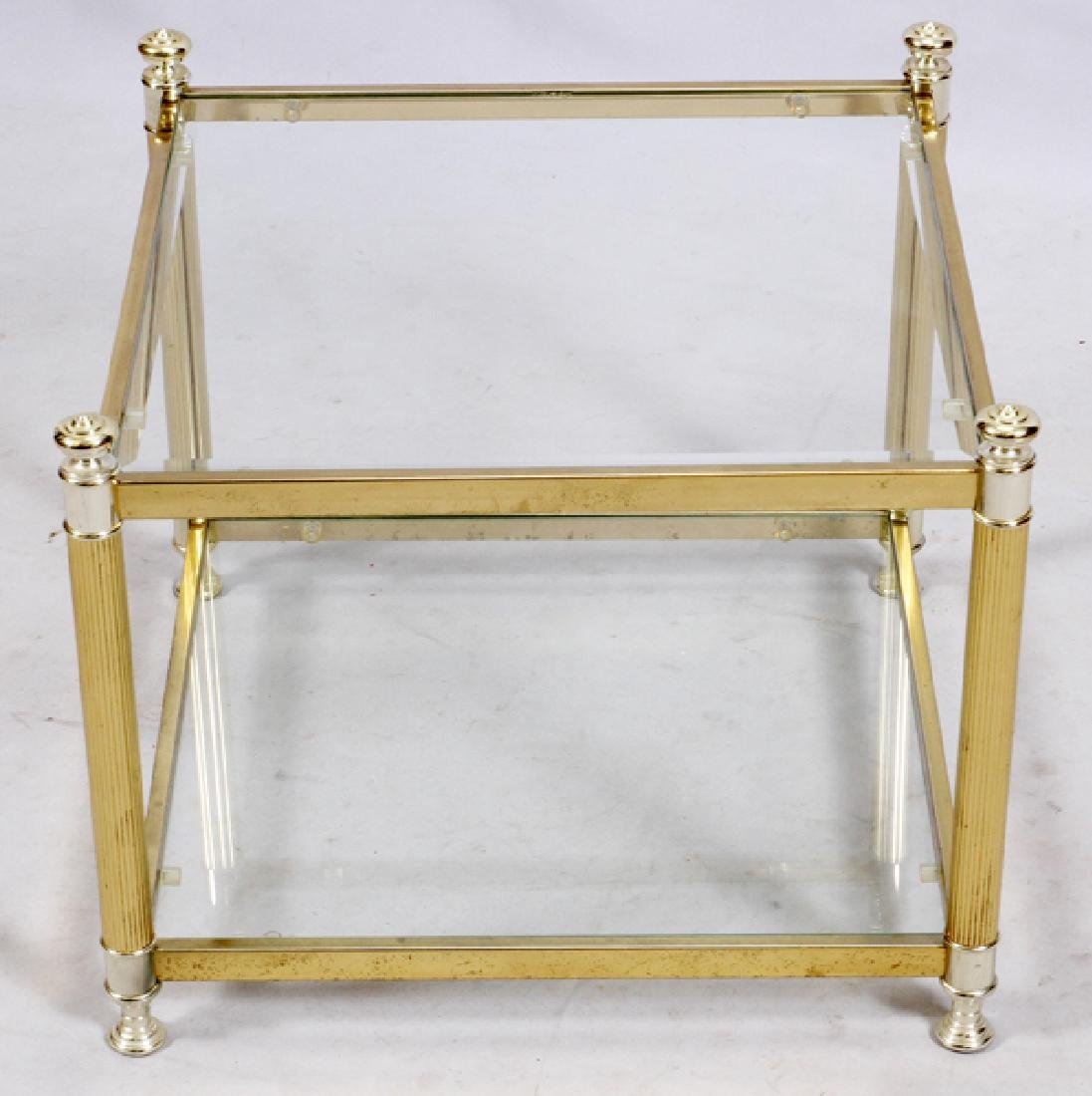 GLASS AND BRASS FRAME TABLE - 2