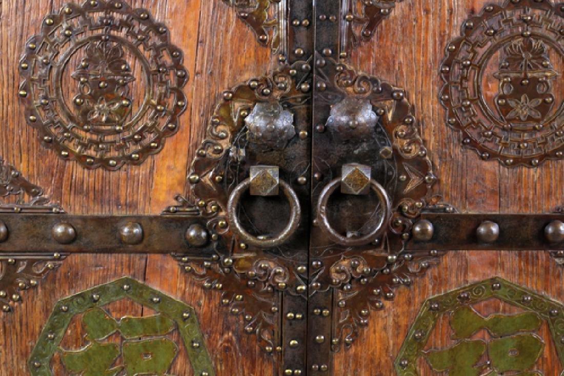 CHINESE WOOD AND METAL DOORS PAIR - 2