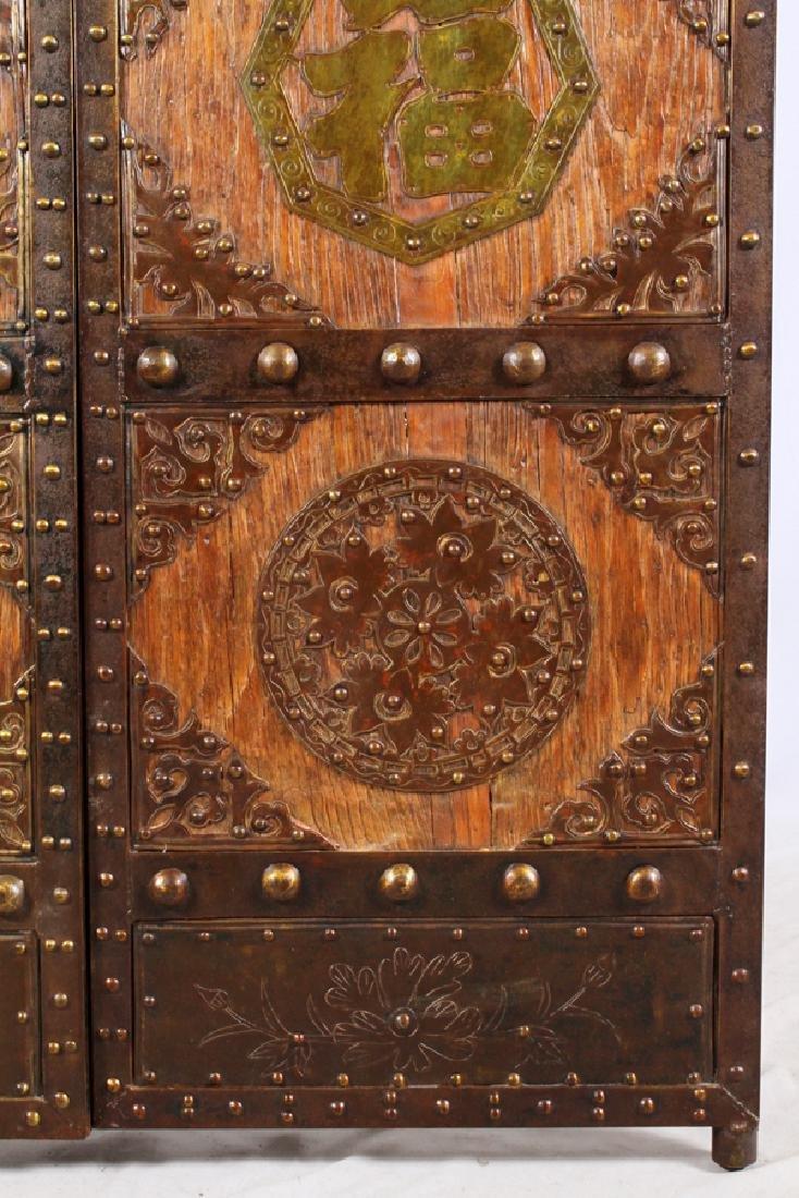 CHINESE WOOD AND METAL DOORS PAIR - 3