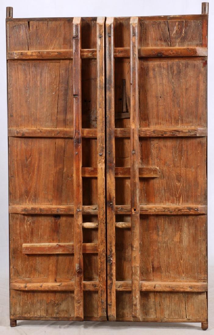 CHINESE WOOD AND METAL DOORS PAIR - 5