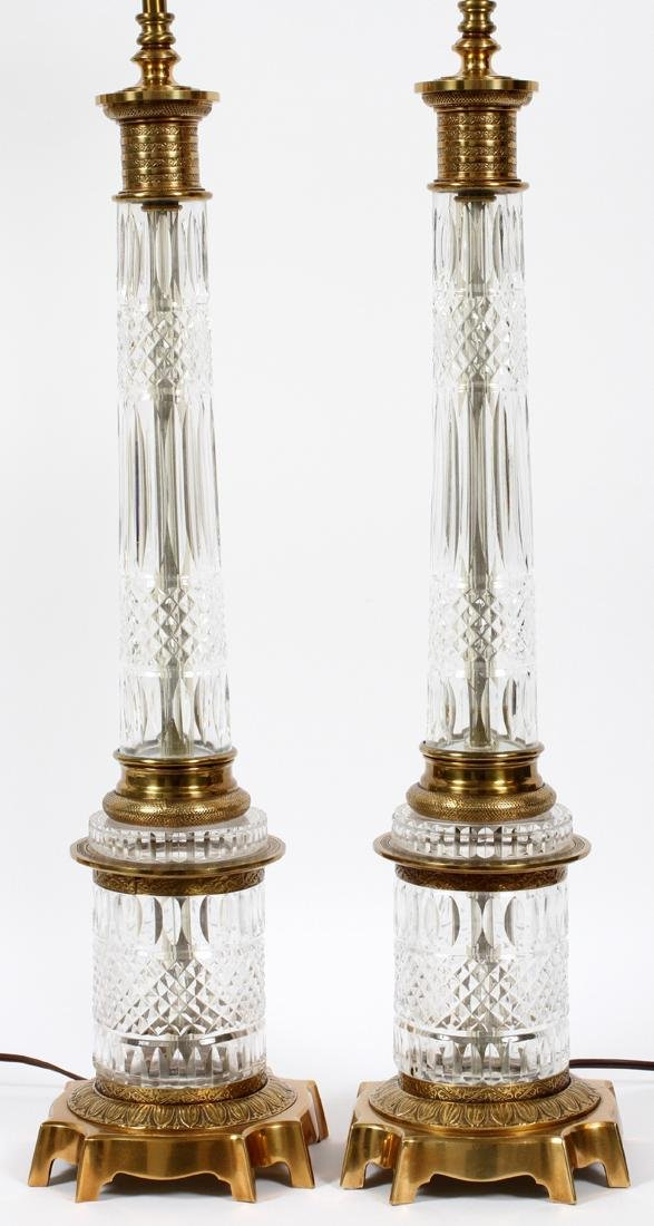 EMPIRE STYLE CUT GLASS & GILT METAL LAMPS PAIR