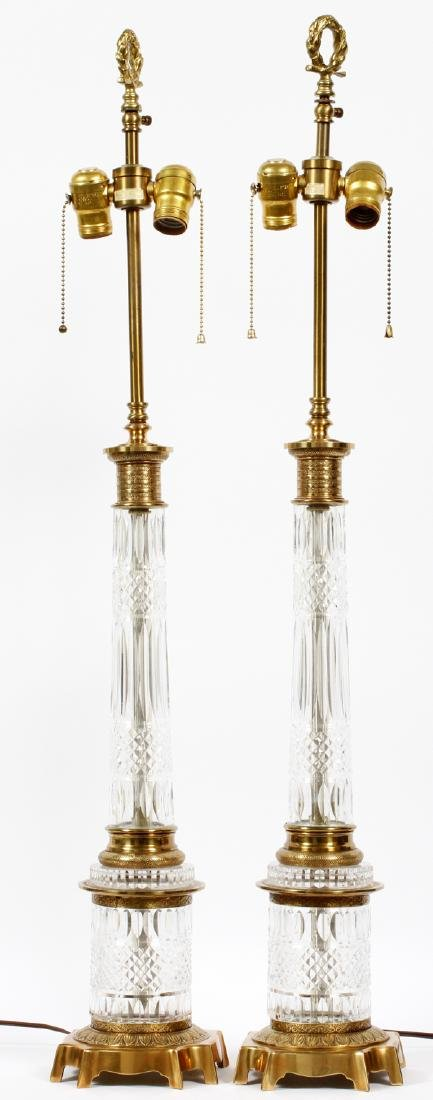 EMPIRE STYLE CUT GLASS & GILT METAL LAMPS PAIR - 2