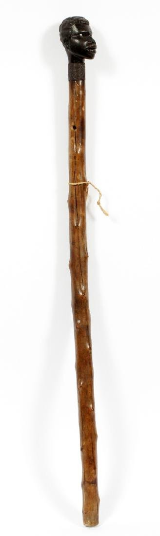 AFRICAN CARVED WOOD WALKING STICK - 2