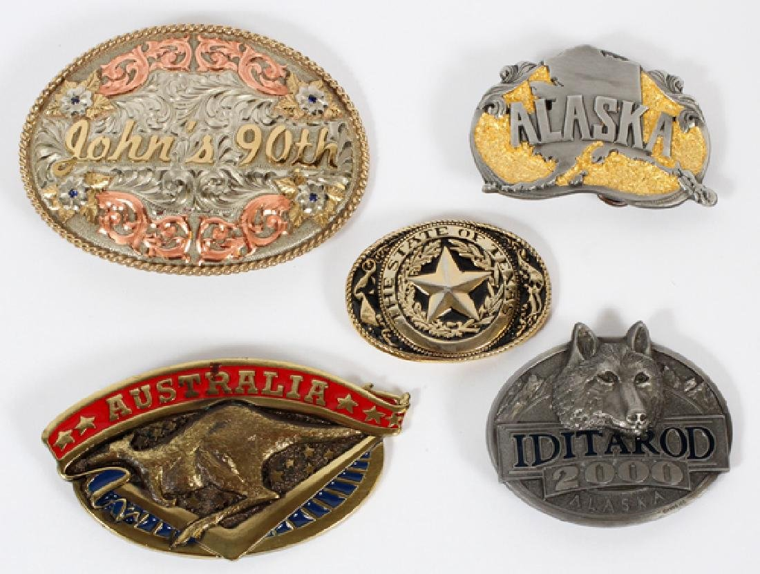 SILVER AND BRASS BELT BUCKLES FIVE