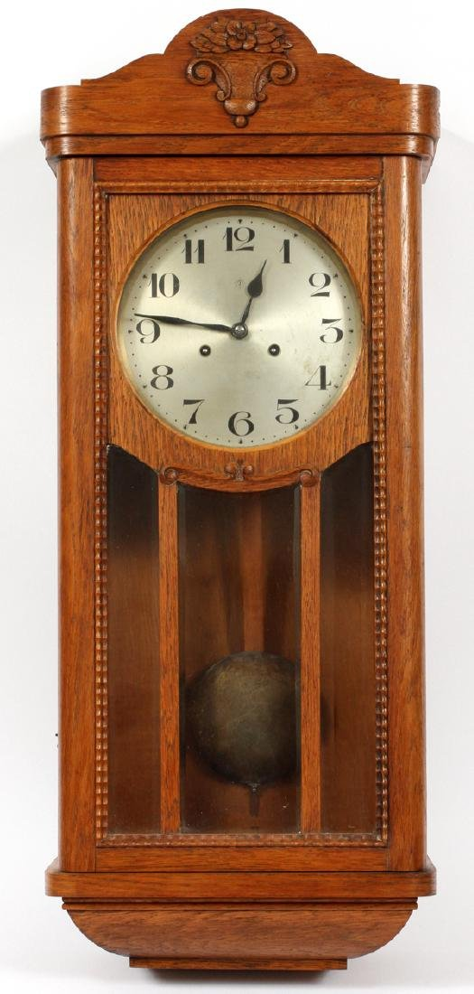 JUNGHANS GERMAN OAK WALL CLOCK C. 1890