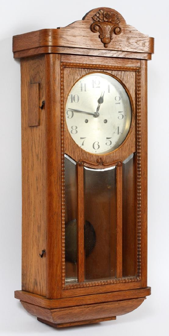 JUNGHANS GERMAN OAK WALL CLOCK C. 1890 - 2