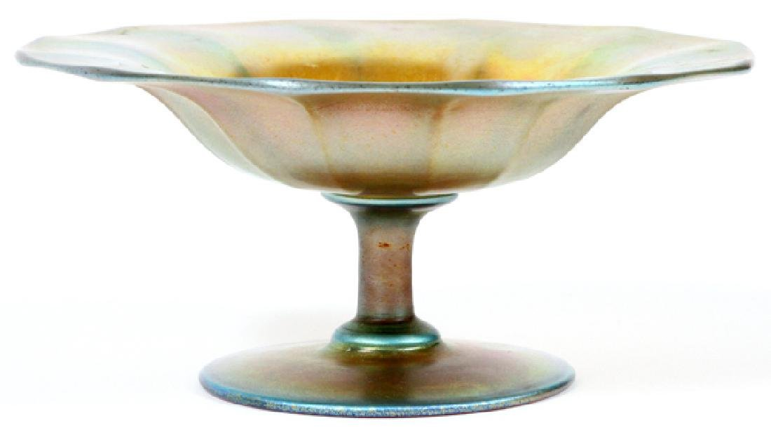 STEUBEN GOLD AURENE COMPOTE EARLY 20TH C.