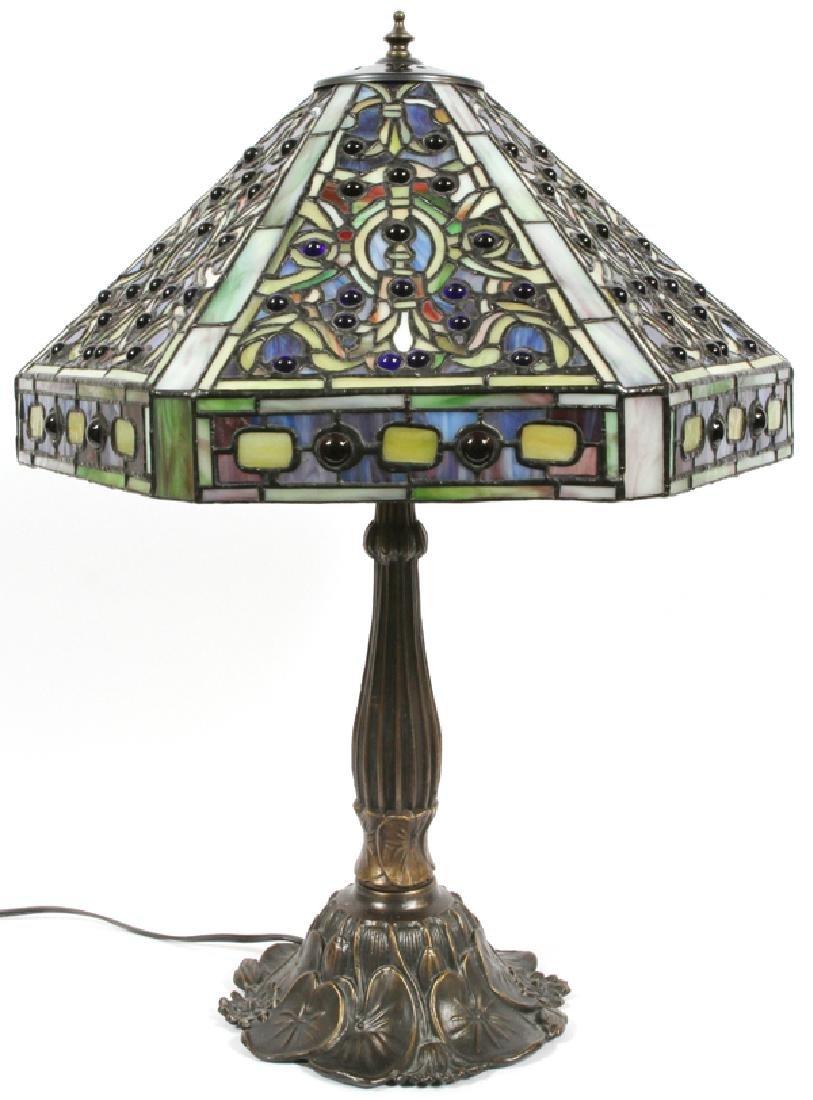 JEWELED ART GLASS TABLE LAMP