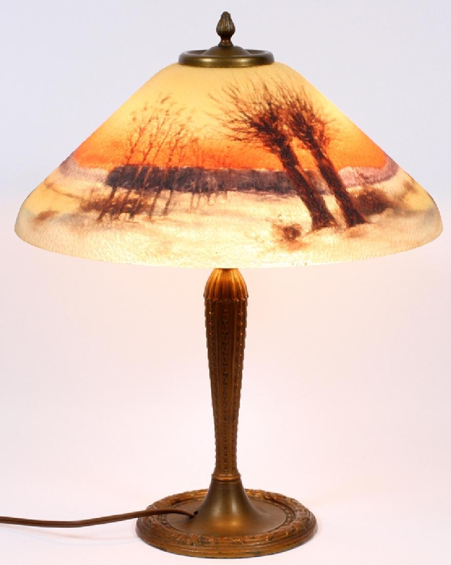JEFFERSON SIGNED REVERSE PAINTED TWO-LIGHT LAMP