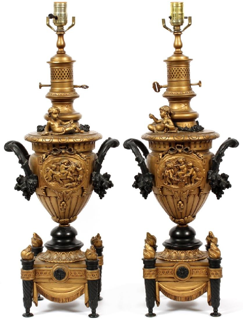 EDWARDIAN BAROQUE STYLE CAST METAL TABLE LAMPS PAIR