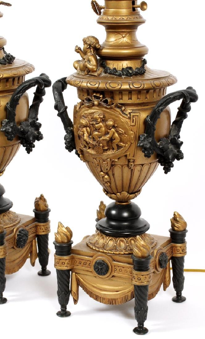 EDWARDIAN BAROQUE STYLE CAST METAL TABLE LAMPS PAIR - 3