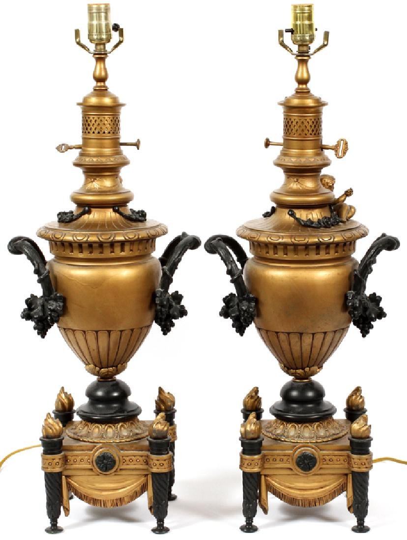 EDWARDIAN BAROQUE STYLE CAST METAL TABLE LAMPS PAIR - 4
