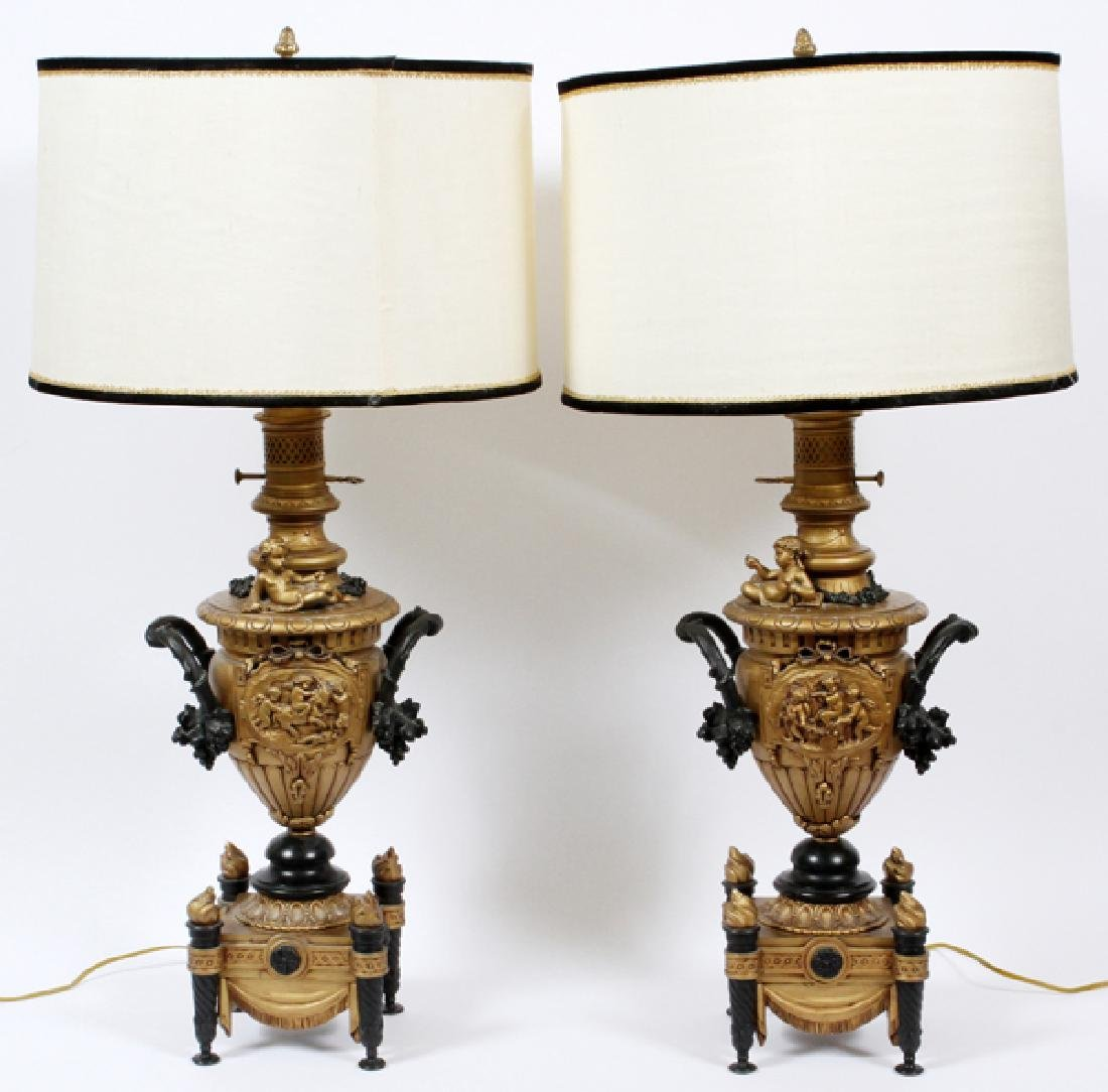 EDWARDIAN BAROQUE STYLE CAST METAL TABLE LAMPS PAIR - 5