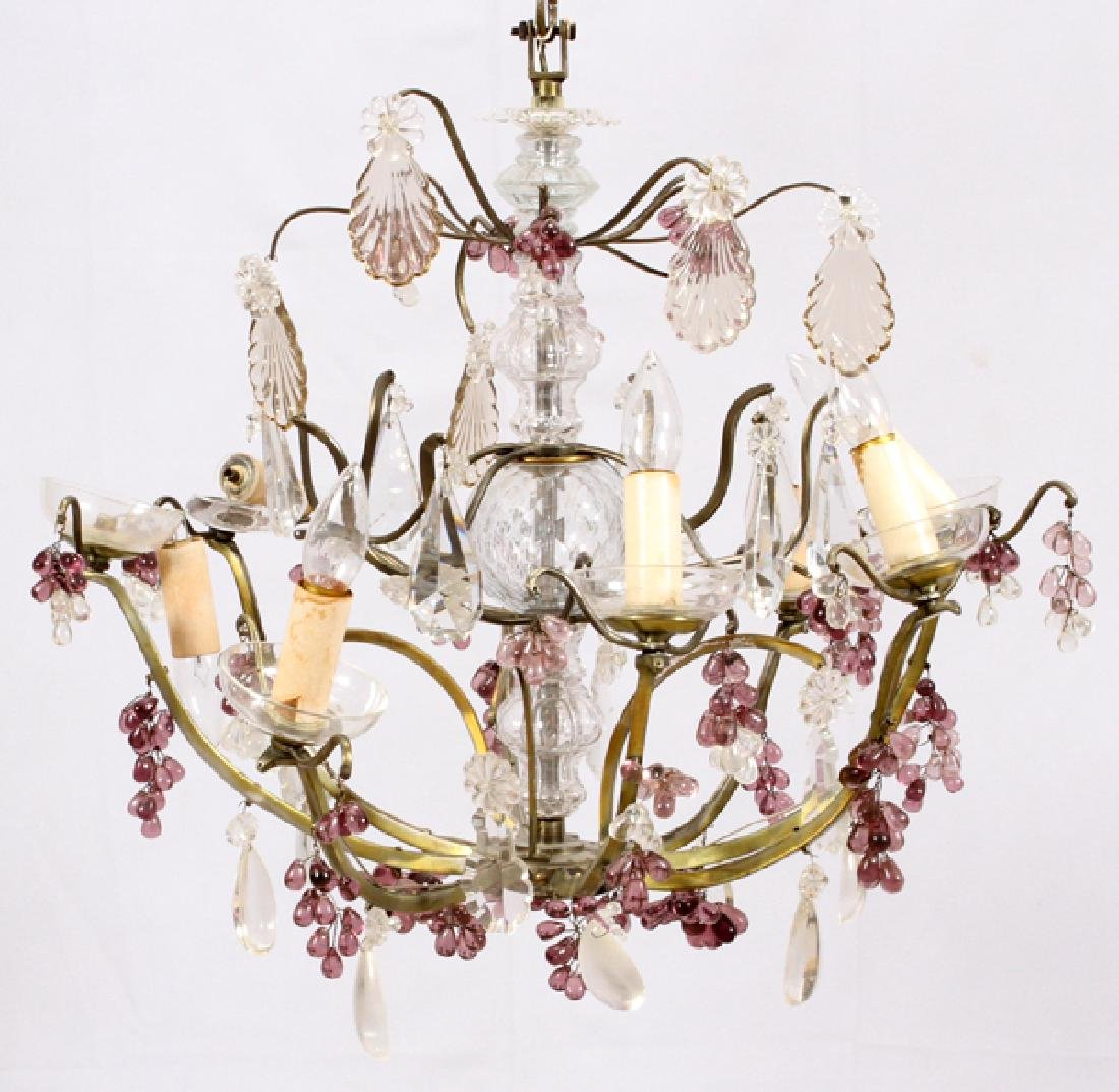 LOUIS XVI-STYLE BRASS AND CRYSTAL CHANDELIER