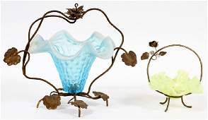 VICTORIAN COLORED GLASS & VASELINE BRIDE'S BASKETS