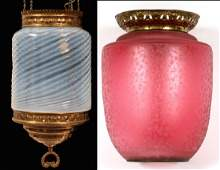 OPALESCENT HANGING LAMP & CRANBERRY GLASS SHADE