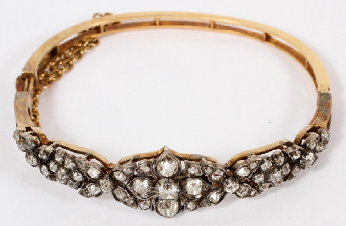 ENGLISH VICTORIAN DIAMOND 14 KT. GOLD BRACELET - 2