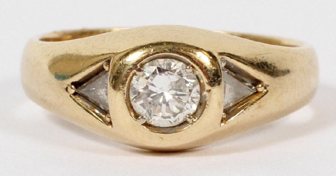 14KT YELLOW GOLD & DIAMOND BEZEL DOME RING