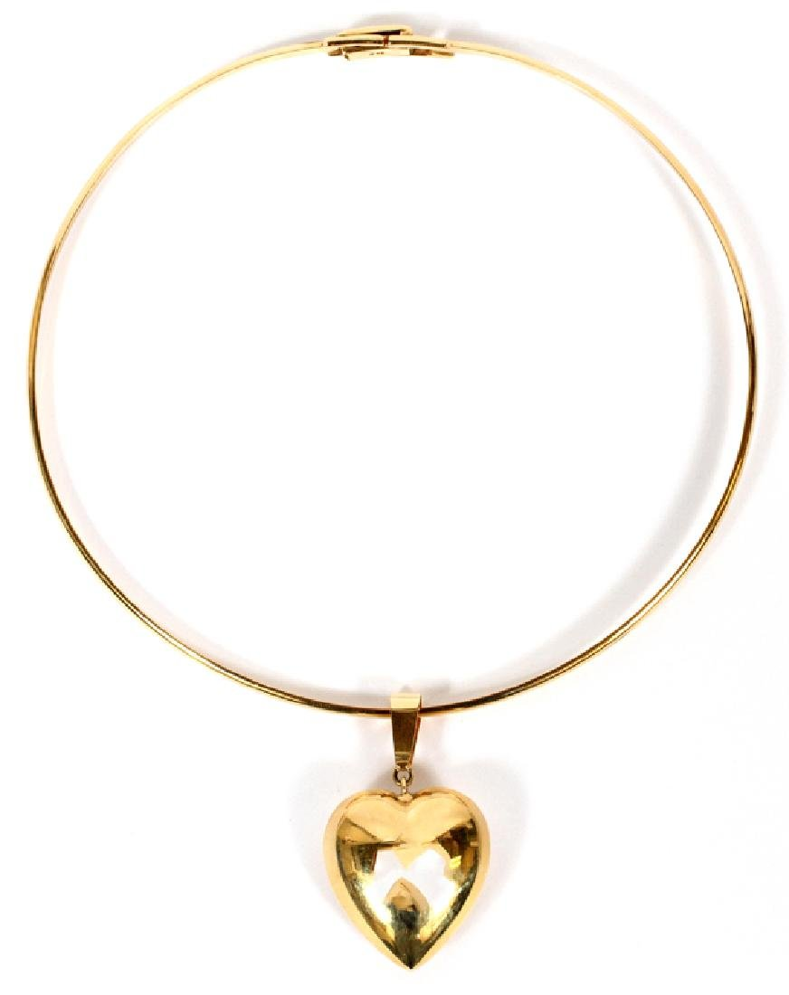 14KT YELLOW GOLD NECK COLLAR W/ HEART PENDANT