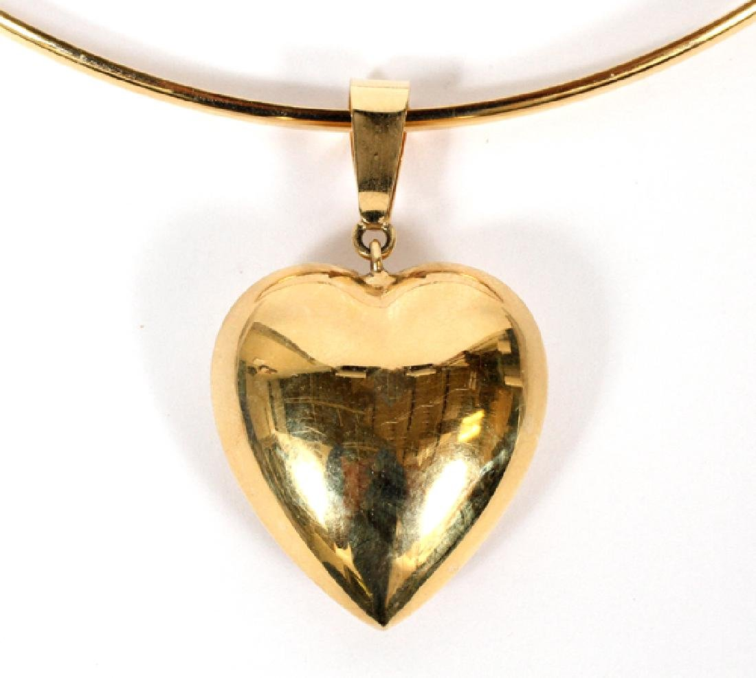 14KT YELLOW GOLD NECK COLLAR W/ HEART PENDANT - 2