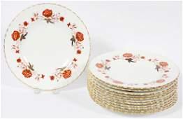 ROYAL CROWN DERBY 'BALI' PORCELAIN DINNER PLATES