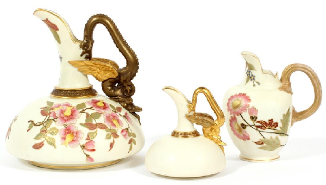 ROYAL WORCESTER BISQUE PITCHERS THREE