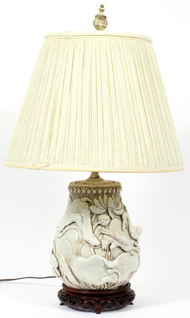 CHINESE GLAZED POTTERY VASE CONVERTED TO LAMP - 3