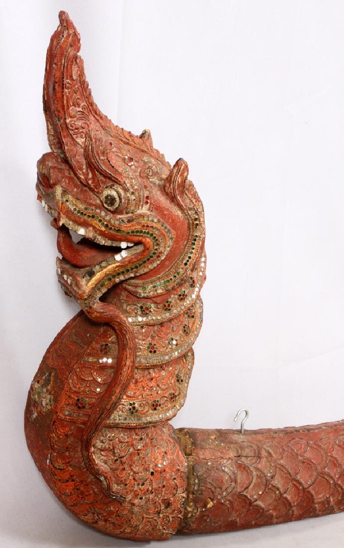 SOUTHEAST ASIAN CARVED WOOD PHAYA NAGA DRAGON - 2